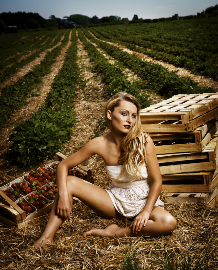 Hot female farmers in the photoshoot in the village